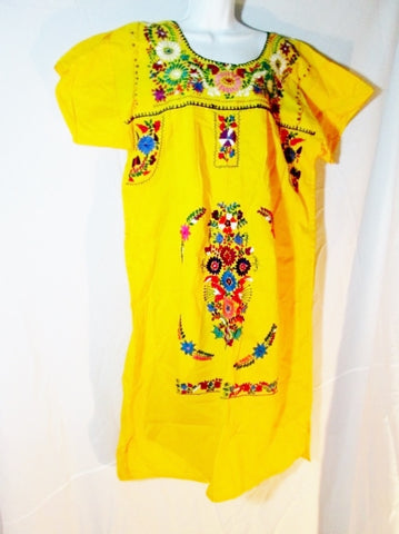 NEW WOMENS Embroidered PUEBLA Wedding Dress Mexico Floral BIRD YELLOW