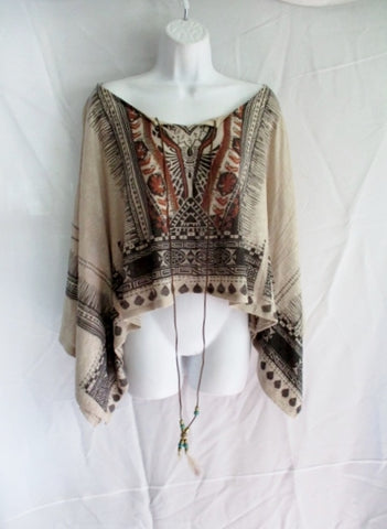 Womens Poncho Knit Tribal Ethnic BEIGE BROWN BLACK OS Hippy Feather Festival