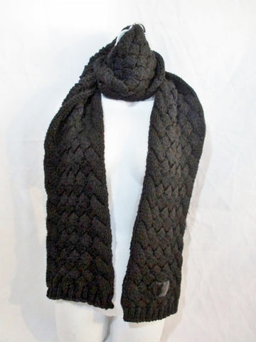 DIOR 100% Thick WOOL Cardi Knit SCARF Neck Warmer BLACK 81""