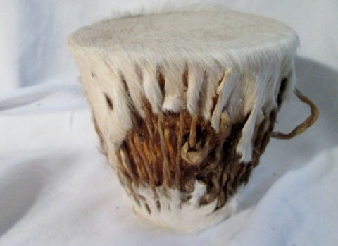 "Handmade 4"" Wood Rattle Fur Skin DRUM PERCUSSION MUSIC Africa WHITE Primitive Rustic"