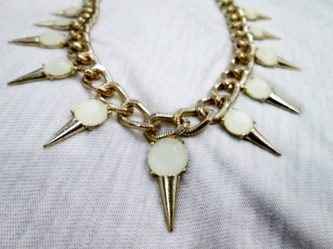 VANILLA ICE CREAM CONE FRINGE Bib Necklace Choker GOLD Boho Hippie Yum Festival