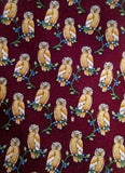 BROOKS BROTHERS BASICS Mens Pure Silk NECK TIE Necktie OWL NIGHT BIRD RED