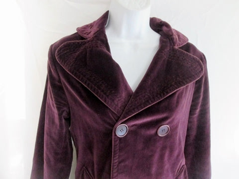 Womens JILL STUART Double Breasted Jacket Coat 8 PURPLE PLUM Blazer Steampunk