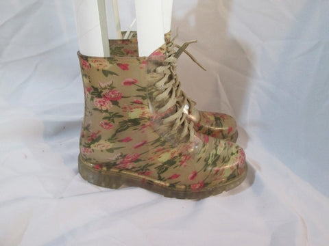 Womens DIVIANA Floral Jelly Wellies Ankle Chukka Combat BOOT 7 Bootie Floral