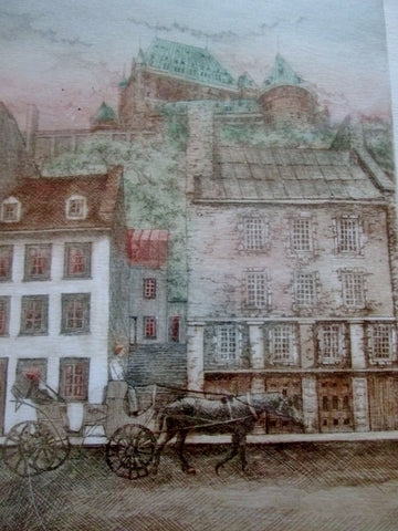 Signed OUILLET LITHOGRAPH HORSE CARRIAGE Architecture ART Print Limited Ed