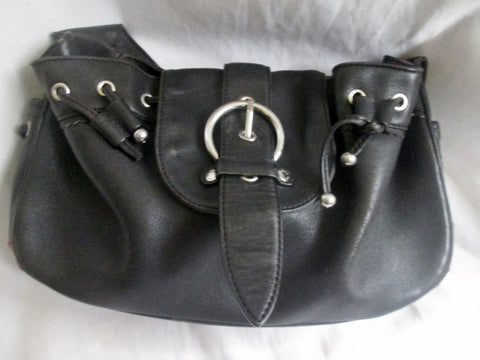 DESMO ITALY Leather FRONT FLAP Handbag Hobo Shoulder Bag Satchel BLACK