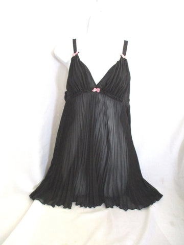 BETSEY JOHNSON INTIMATES Negligee Lingerie Dress M BLACK PINK BOW Pleated