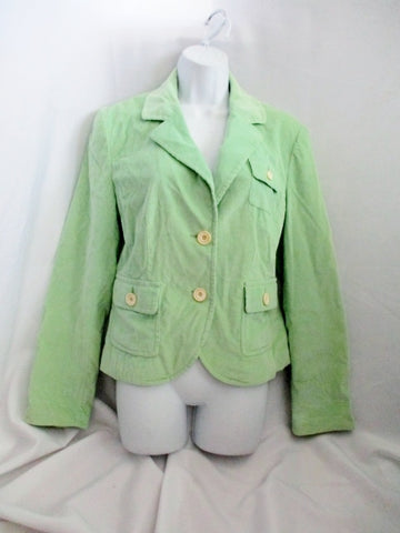 Womens VINEYARD VINES Corduroy Button Up Jacket Coat 8 GREEN Pockets