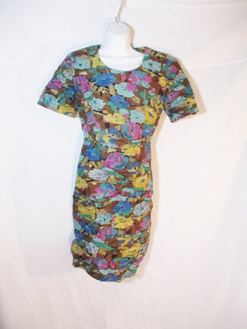 WOMENS MARLY'S  ITALY Pure Cotton DESIGNER DRESS 42 / 10 FLORAL RUCHED