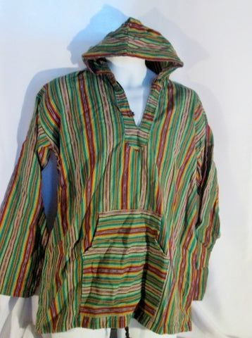 Mens Womens Stripe Mexican Hoodie Sweatshirt Beach Coverup Hippie L GREEN  Top MULTI