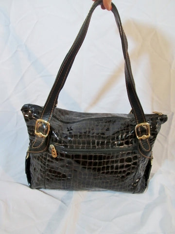 MARINO ORLANDI ITALY Patent Leather Tote Bag Purse BROWN CROC Shopper Shoulder