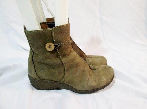 Womens TIMBERLAND 65351 Suede Leather Chukka BOOTIE BROWN 6.5 Shoe Wedge Heel