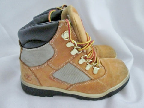 Kids Boys TIMBERLAND 44793 Junior Field Boot Leather HIKING Shoes WHEAT 1.5 BROWN