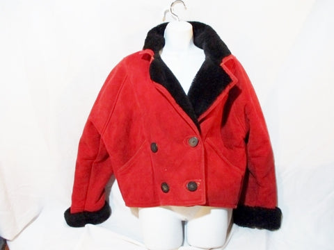 Womens SAKS FIFTH AVENUE SHEARLING SUEDE jacket coat RED M Leather