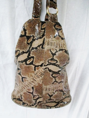 ATALLA HANDBAGS USA SNAKESKIN LEATHER Satchel Hobo Bag Bucket Sling BROWN Boho