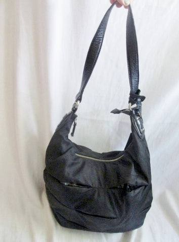 CALVIN KLEIN NYLON shoulder bag satchel hobo purse sling vegan BLACK M