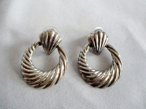 Signed 925 STERLING SILVER Pierced Earring MOVING Hinged LOOP 10g Statement