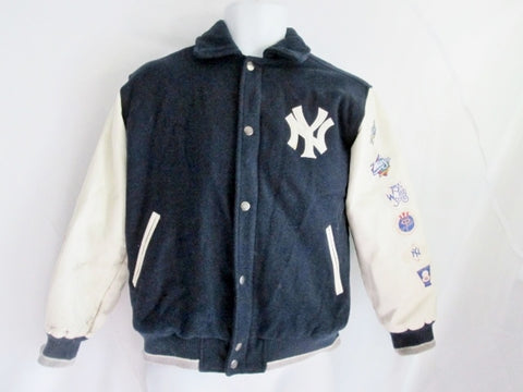 Boys 26-Time YANKEES WORLD SERIES BASEBALL Bomber Varsity Jacket Coat 12/14
