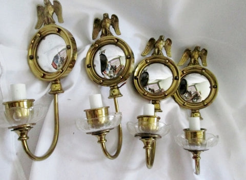 Set 4 EAGLE WALL SCONCES Federal Eagle Repro Bulls Eye  mirror LAMP Light Sconce BRASS Nautical