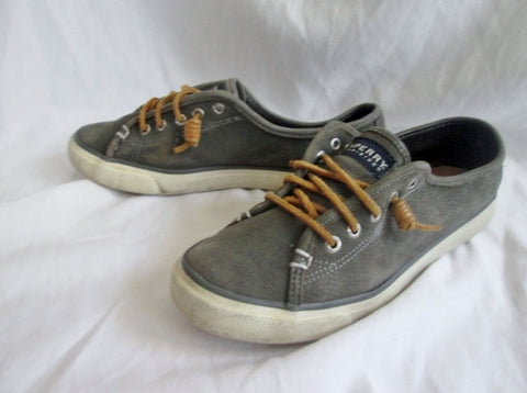 Womens SPERRY TOP SIDER 4 Eye Washable Leather Boat Shoe 8 GRAY Nautical