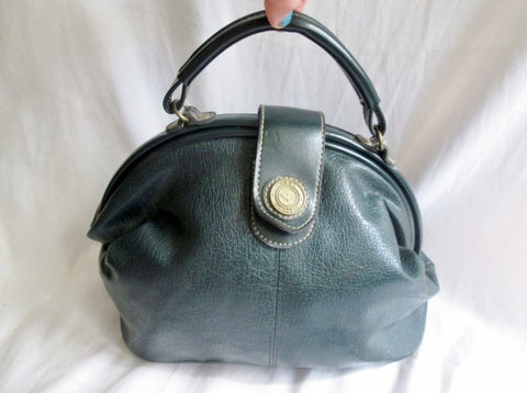 Vtg CAPEZIO Leather Handbag Satchel Bowler Briefcase Medical Bag GREEN Clutch