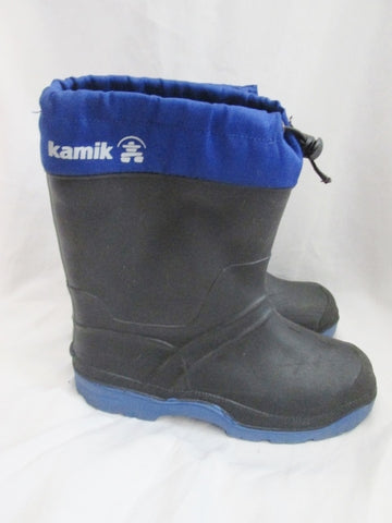 Boys Girls KAMIK CANADA Waterproof Rain Snow Boots Winter BLACK BLUE 5 Kids Youth