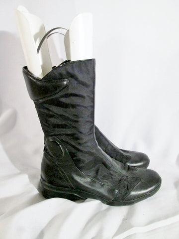Womens NINE WEST NESHOMA Moto Touring Boot RIDING Biker 8 BLACK Bootie Ankle