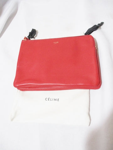 NEW CELINE PARIS Leather TRIO Clutch Bag Purse RED Pouch Wallet