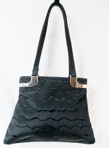 BARUCCI Nylon Embroidered Wave Vegan TOTE Shoulder BAG BLACK Carryall Pyramid