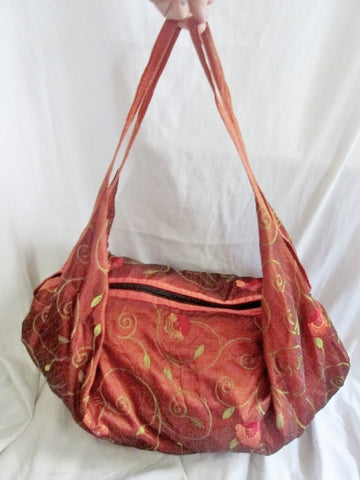 NEW Embroidered Metallic Festival Sling Tote Vegan Ethnic Shoulder Bag RUST ORANGE XL
