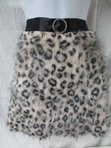 NEW Girls HER MAJESTY'S ACCESSORIES HOSTESS FAUX FUR Apron LEOPARD OS