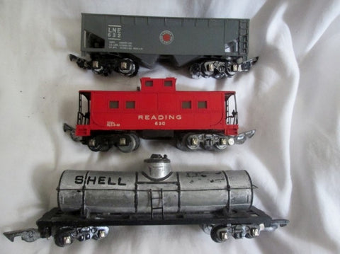 Vtg Set 3 Metal Tin Plastic AMERICAN FLYER Train Tanker READING 630 LNE 632 Lot