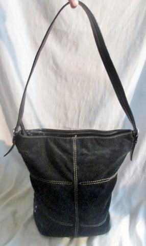 TIGNANELLO suede leather hobo satchel shoulder bucket bag crossbody BLACK