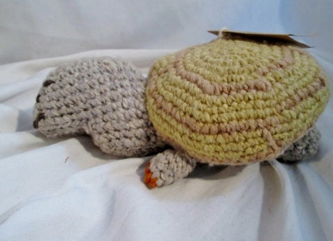 NEW NWT HANDMADE Wool Plush HAND KNIT TURTLE TORTOISE Stuffed Animal AFRICA Doll Toy