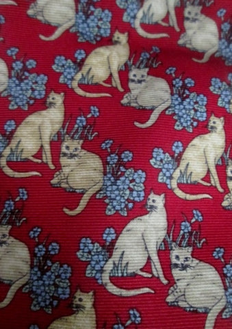 Mens BEAUFORT TIE RACK ITALY NECK Silk KITTY CAT FLORAL Kitten RED