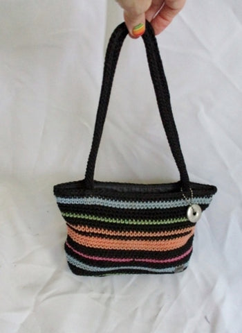 THE SAK crochet knit shoulder bag satchel hobo purse crossbody BLACK STRIPE
