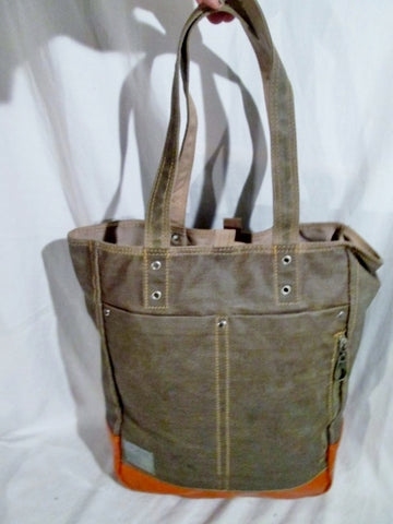 ESPRIT Vegan Tote Handbag Satchel Carryall OLIVE GREEN ORANGE Hipster Boho