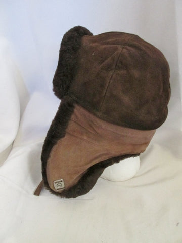 Vintage J.J. HAT CENTER Suede Mouton Lamb Fur Hat Cap Flap Cossack Trapper BROWN Trooper Cosplay