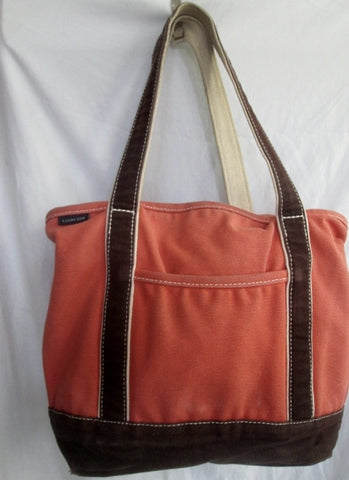 LAND'S END 33X38 Canvas Tote Shoulder Beach Bag Carryall ORANGE BROWN Vegan