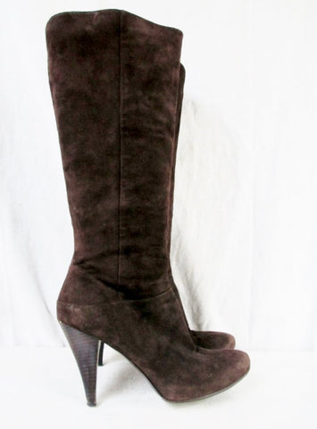 Womens VIA SPIGA DECORUM Knee High Suede LEATHER RIDING BOOT BROWN 8