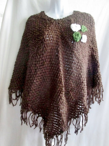 New ATELIER ADONAY Handmade LOOM Poncho Cape Jacket Hippie BROWN OS FRINGE Ethnic