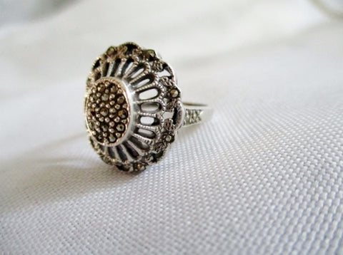 925 STERLING Silver Ring Sz 7 Marcasite 5g STATEMENT Band Jewelry Wedding