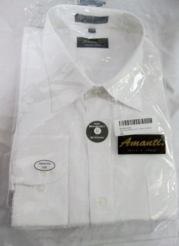 NEW Mens AMANTI ITALIAN STYLE Dress Shirt WHITE 17.5- 34/35 Convertible Cuff