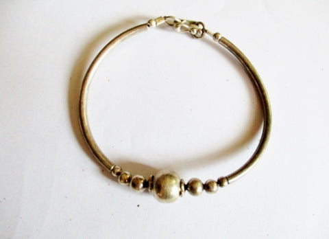 Child's 950 FINE STERLING SILVER Beaded Arts Crafts Bracelet Bangle 6g
