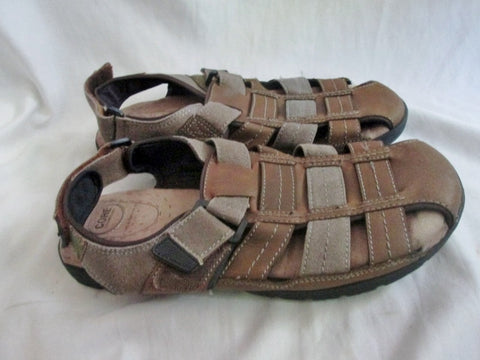 2955028205d5 ... NEW Mens CROFT   BARROW SHOES Sandals Leather Canvas BROWN 11 Camping  ...