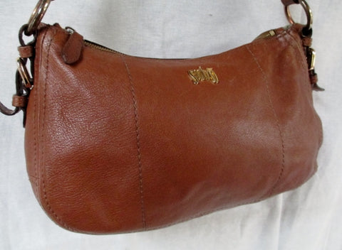 SUBO Leather hobo satchel shoulder slouch bag CARAMEL BROWN M Signature