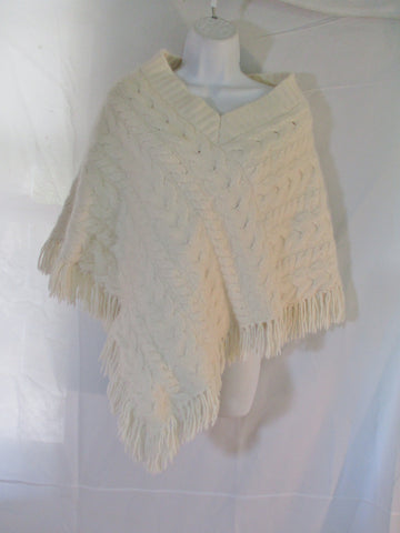 BANANA REPUBLIC Cable Knit Poncho Fringe Angora Wool M/L CREME WHITE