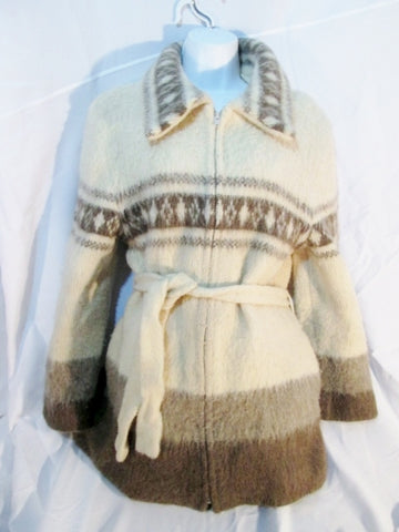 Womens ICEWOOL ICELAND Fair Isles Wool Knit Sweater Cardigan XL ECRU Belt Ethnic