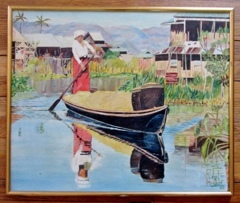 Vintage SIGNED 1960s C. HOYT PAINTING FOLK ART Woman Boat River Ethnic