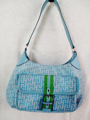 TOMMY HILGFIGER faux leather hobo satchel shoulder flap saddle bag BLUE M